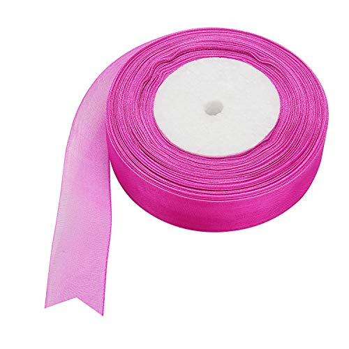 (Molshine 50yd 1-inch Premium Quality Shimmer Sheer Organza Ribbon-Pure Color (Rose red))