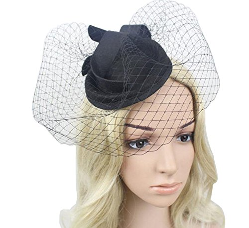 Femmes Caliadress Tea Party Cocktail Toque Mariage Fascinator Voile Noir Rouge C006ts De