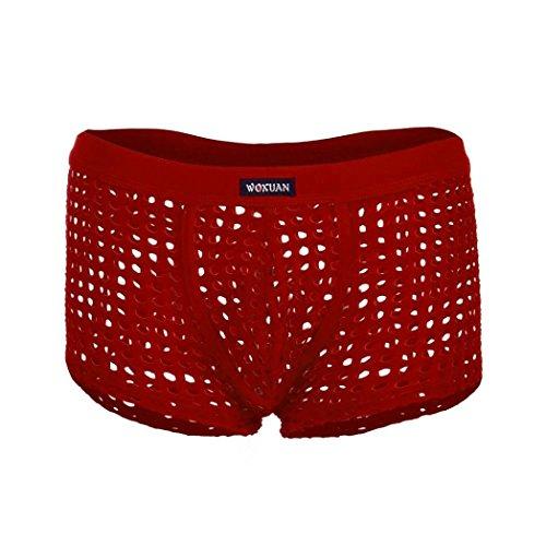 erwear Trunks Bulge Sports Hollow Underpants Ventilation(Red,32) ()