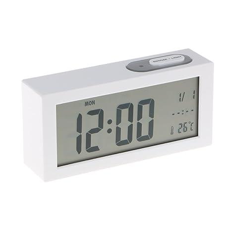 IPOTCH 1 Pieza de Reloj Despertador Digital Rectangular Numérico Regalo para Niños de Cumpleaños - Blanco