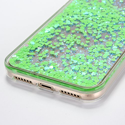iPhone X Case [With Free Tempered Glass Screen Protector],Mo-Beauty® Flowing Liquid Floating Flowing Bling Shiny Sparkle Glitter Crystal Clear Plastic Hard Case Protective Shell Case Cover For Apple i Green