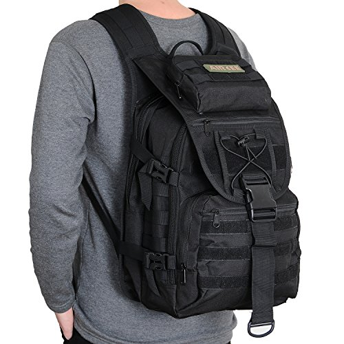 Aircee (TM) 40L Outdoor Gear Assault 3P Backpack Small Tactical Molle TAD Backpack Waterproof Travel Daypack Military Rucksacks (Black)