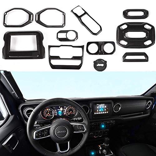 JeCar JL Accessories Interior Decoration Trim Kit Trim for 2018 Jeep Wrangler JL & Unlimited (Carbon Fiber 11PCS)
