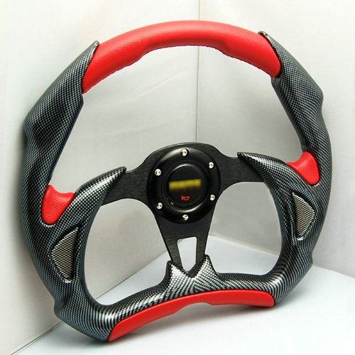 Liquor Car New 14 inch 350mm Aluminum Sport Race Racing Steering Wheel With Horn Button PU+PVC Red 6 Holes//Bolts