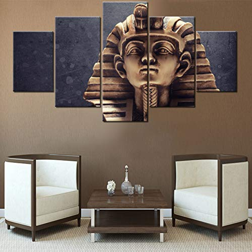 Wall Pictures for Living Room Egyptian Pharaoh Tutankhamun Paintings 5 Panel Canvas Wall Art Modern Home Decor HD Prints Ancient Sculpture Artwork Framed Gallery-Wrapped Ready to Hang(60''Wx 32''H)