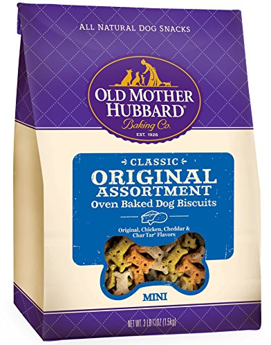 Old Mother Hubbard Classic Crunchy Natural Dog Treats, Original Assortment Mini Biscuits, 3.8 (3 lb 13oz)-Pound (Baked Dog Treats)