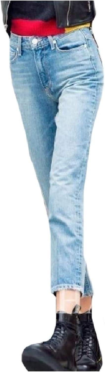 Romancly 女性スリムフィットデニムカジュアルレジャーストレートジーンズBFスタイル10分のパンツ