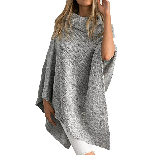 Jaeounr Women Casual Loose Turtleneck Knitted Poncho Pullovers Sweater Top (Gray) -