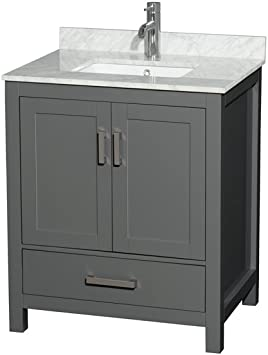 Wyndham Collection Sheffield 30 Inch Single Bathroom Vanity In Dark Gray White Carrara Marble Countertop Undermount Square Sink And No Mirror Amazon Com