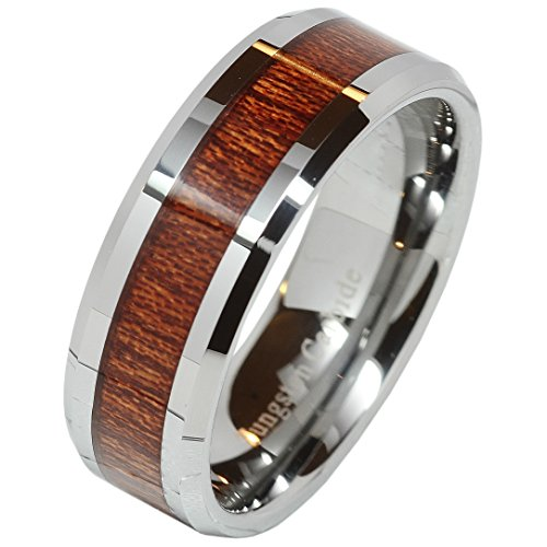 8mm Men's Tungsten Carbide Wood Inlay Beveled Edge Wedding Band Ring Size 7-15 (11.5)