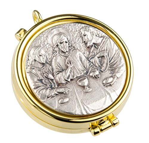 Gold Plate and Silver Toned Last Supper of Christ Communion Pyx, 2 1/8 Inch ()