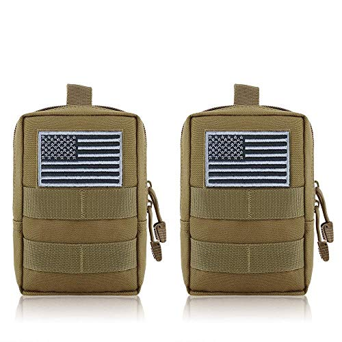 FUNANASUN MOLLE Pouches - 2 Pack Tactical Compact Pack Water-Resistant Utility EDC Pouch Small Black with US Flag Patch ?Tan?
