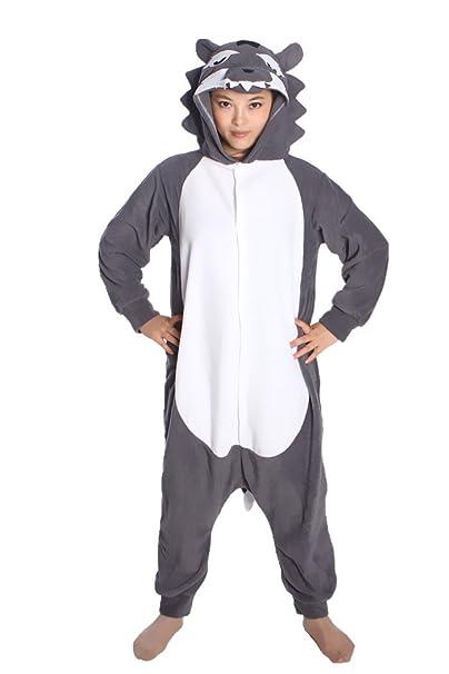 wotogold Animal Traje de Cosplay Lobo Onesies Hombre Mujer Unisex Piyama adultos Pijamas Gris Oscuro
