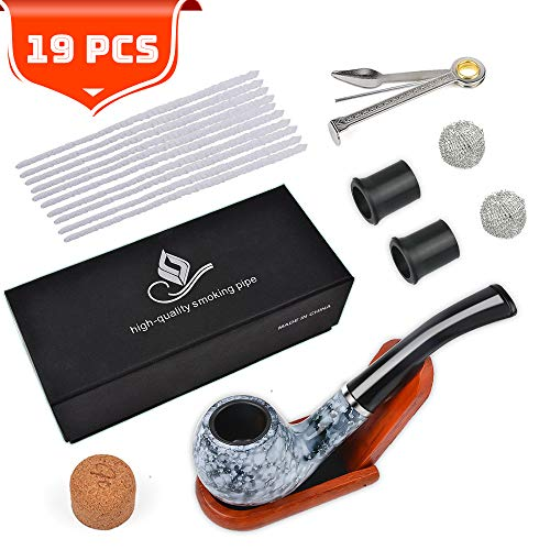 Tobacco Pipe Smoking Pipe Set with Gift Box and Accessories(3-in-1 Pipe Scraper/Pipe Cleaners/Pipe Bits/Metal Balls/Cork Knocker) (For Women Tobacco Pipe)