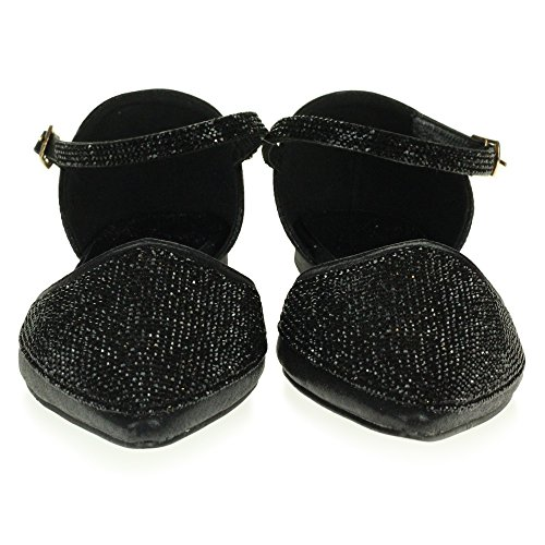 LONDON Sparkly Sandals Flat Bridesmaid Bridal Evening Black Ladies Prom Shoes Pump Party Wedding Diamante AARZ Size Womens fd1Tfq