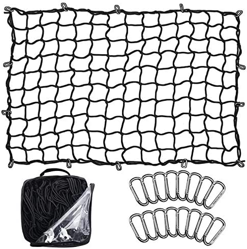 Seven Sparta 5' x 7' Bungee Cargo Net Stretches to ten' x 14' for Truck Bed, Pickup Bed, Trailer, Trunk, SUV with 16 Bonus D Clip Carabiners Universal Heavy Duty Car Rear Organizer Net for Large Loads