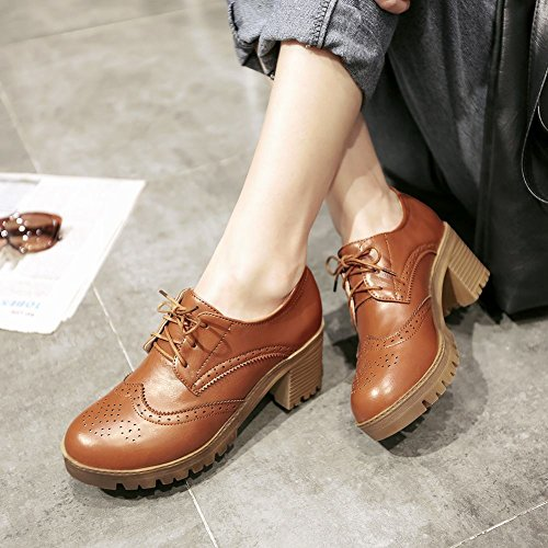 Latasa Mode Lace-up Plate-forme Chunky Mi-talon Oxfords Chaussures Marron Clair