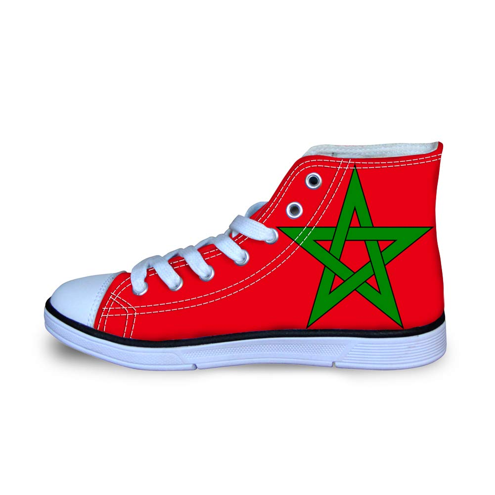 Canvas High Top Sneaker Casual Skate Shoe Boys Girls Morocco Flag