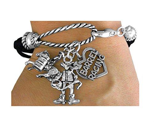 3-charm Black Multi Strand Cowgirl & ''I Love Barrel Racing'' Rope Bracelet by Lonestar Jewelry
