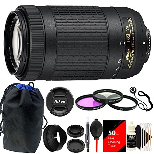 Nikon AF-P DX NIKKOR 70-300mm f/4.5-6.3G ED VR Lens (White Box) + 58mm Filter Kit + Rubber Lens Hood + Lens Cleaning Tissue + Lens Pen + Lens Cap Holder + Dust Blower + Pouch + 3pc Cleaning Kit