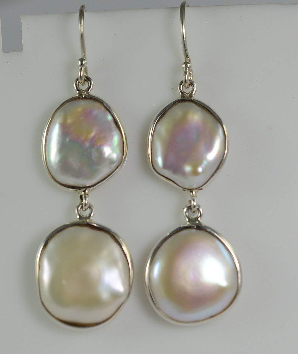 Moneda de agua dulce Perla 925 Pendientes de gota de plata esterlina sólida hecha a mano