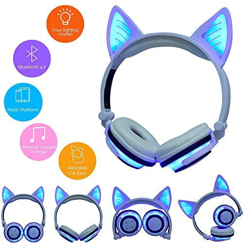 LED Music Lights Earphone Foldable Cat Ear Rechargeable Head