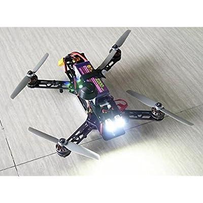 usmile RC Night Flying 12V 1.5W Super Bright RC LED Head Lights Drone LED Light Illuminator for Carbon Fiber Quadcopter Frame Multirotor QAV250 ZMR250 QAV180 ZMR180 FPV Quadcopter(4pcs): Toys & Games