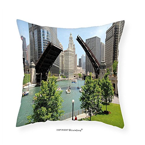 VROSELV Custom Cotton Linen Pillowcase United States Downtown Chicago Illinois Finance Business Center Lake Michigan Avenue Bridge for Bedroom Living Room Dorm Multicolor - Map Chicago Michigan Avenue