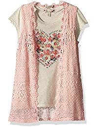 Speechless Big Girls' 2pc Crochet Vest Withfloral Heart Top