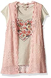 Speechless Big Girls\' 2pc Crochet Vest Withfloral Heart Top, Rosee, XL