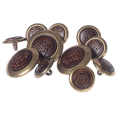 - Die Casted Shank Button with Crown Emblem Buttons Faux Leather Brown and Brass 24/36 Line (8/3pc)