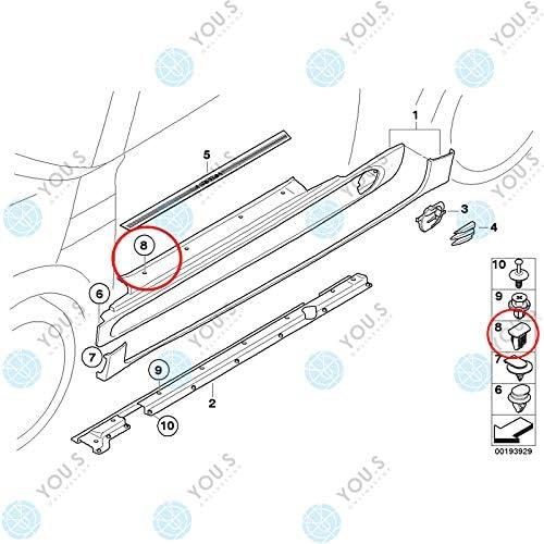 10 X you.s Original Assemblage Clip de Fixation Seuils de Porte 51711496621