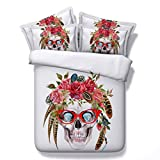 Human skeleton skull Painted rock music abstract bedding - duvet cover and pillowcase, bedroom three-piece bedding (duvet cover + 2 pillowcases) Prevent moisture, hypoallergenic, Twin, Full bed