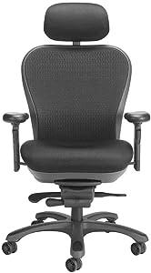 CXO Executive Mid Back Chair in Black w Headrest (Black)