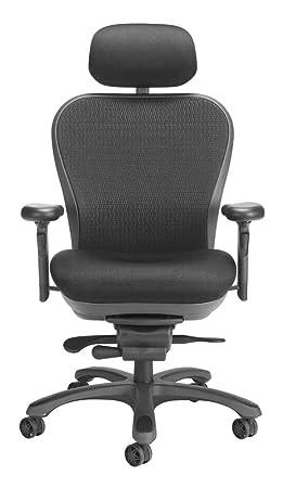 CXO Executive Mid Back Chair in Black w Headrest Black
