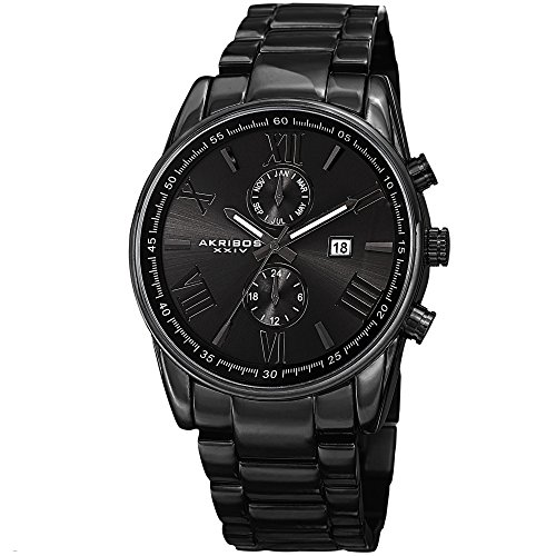 Akribos XXIV Men's AK812BK Quartz Movement Watch with Dark Gray Dial and Black Stainless Steel Bracelet