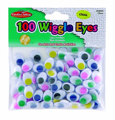 Creative Arts by Charles Leonard Wiggle Eyes, Oval, 15mm, Assorted Colors, 100/Bag (64565)