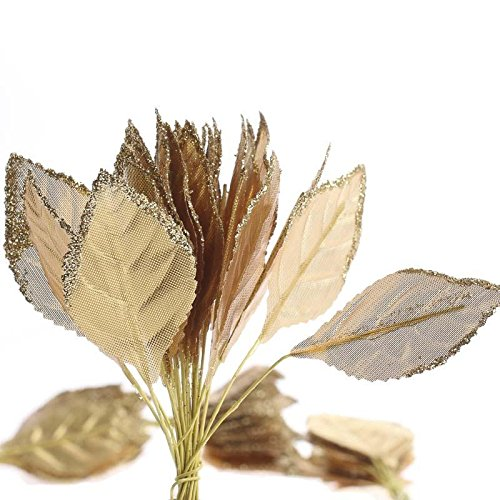 Package of 100 Gold Glitter Trimmed Rose Leaves for Embellishing Corsages, Arrangements, and Crafts - Gold Leaf Accents
