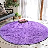 junovo Round Fluffy Soft Area Rugs for Kids Room Children Room Girls Room Nursery,4 Feet x 4-Feet,Purple