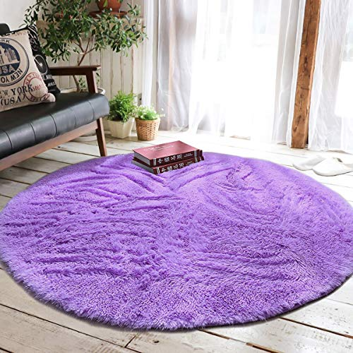 Junovo Round Fluffy Soft Area Rugs for Kids Girls Room Princess Castle Plush Shaggy Carpet Baby Room Decor, Diameter 4ft Purple (Purple Room Rug)