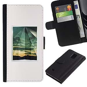Billetera de Cuero Caso Titular de la tarjeta Carcasa Funda para Samsung Galaxy Note 4 SM-N910 / Summer Minimalist Window White / STRONG