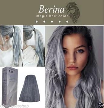 Berina No A21 Permanent Color Hair Dye Cream Unisex   Light Grey Punk