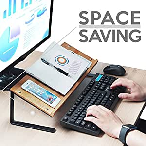 JackCubeDesign Bamboo Tablet Smartphone Book Stand Mobile Cell Phone Display Organizer Shelf Desktop Computer Laptop Document Holder Riser(20.7 x 6.7 x 5.12 inches) –MK294A