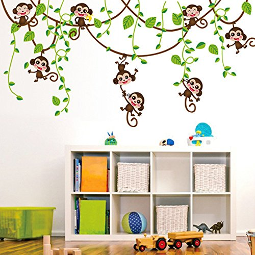decalmile Cartoon Monkeys Climbing Tree Wall Stickers Vinyl Peel and Stick Wall Decals Kids Room Wall Decor Baby Room Nursery Bedroom Wall Decoration
