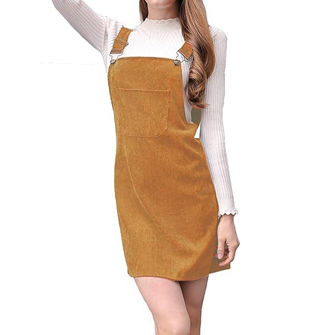 47f249fbe Vestido para Mujer - Dulce Falda Recta Vestido Peto de Pana Casual Color  Sólido Vestido de