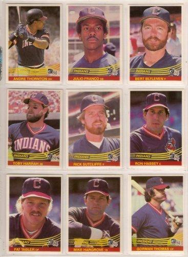 Cleveland Indians 1984 Donruss Baseball Band Set (Bret Blyleven) (Julio Franco) (Andre Thornton) (Toby Harrah) (Rick Sutcliffe) (Ron Hassey) (Pat Tabler) (Mike Hargrove) (Gorman Thomas0 (Alan Bannister) (Chris Bando) (Neal Heaton) (Brook Jacoby) (Ohio) (C