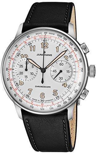 - Junghans Meister Telemeter Chronoscope Mens Automatic Chronograph Watch - 40mm Silver Face with Luminous Hands, Tachymeter, Telemeter - Black Leather Band Luxury Watch Made in Germany 027/3380.00