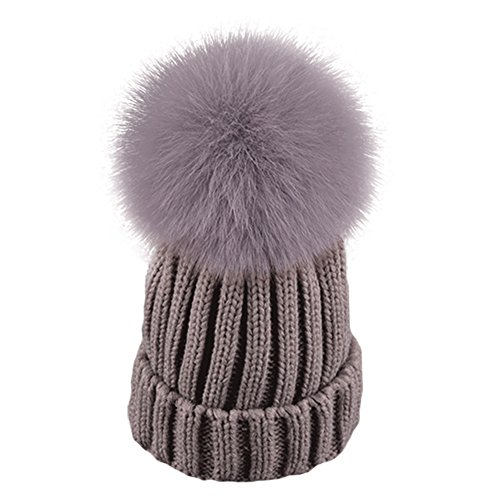 Taiycyxgan Unisex Kids Knitted Cap Winter Fox Fur Hat Girls Fur Pom Pom Beanie Hats Grey