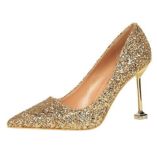 Calzature donna gradiente Xue matrimonio scarpe con singolo pelle Qiqi Calzature di di con alti fine 35 Argento tacchi madre Golden punta con in i cristallo wH1CXrqH