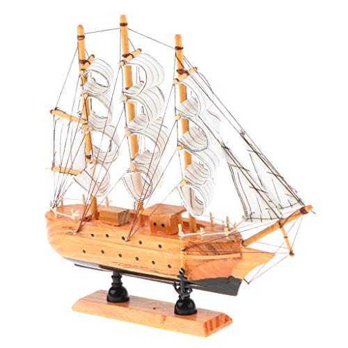 Fenteer 100% Handmade Wooden Middle Ages Three-masted Sailboat Model Toy Home Decor Collectible #D